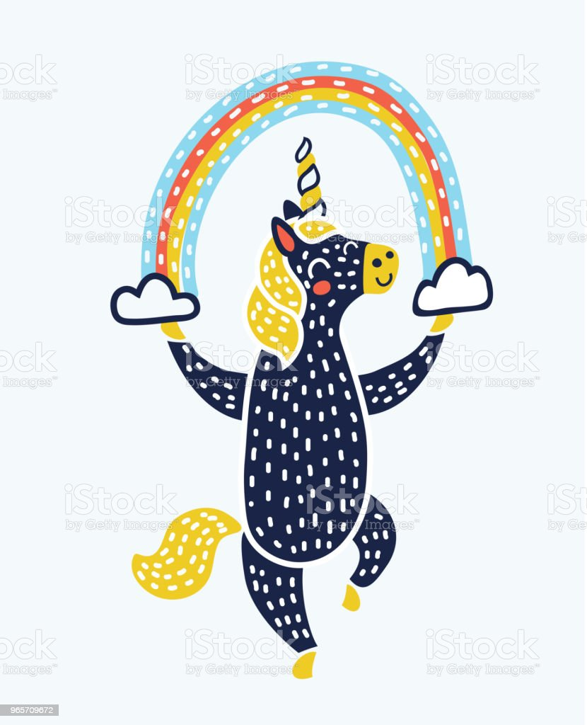 Vector unicorn dance with rainbow - Royalty-free Blue stock vector