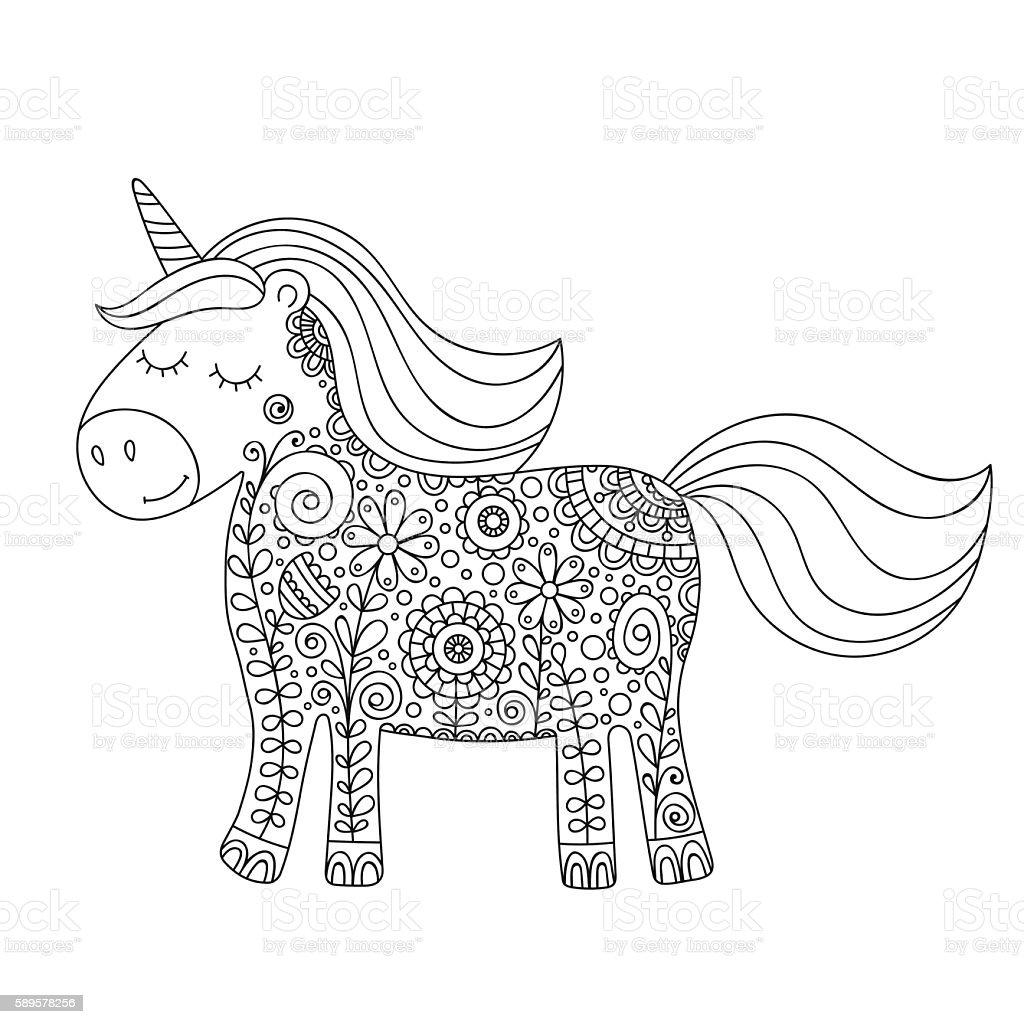 Kleurplaat Paarden Halster Vector Unicorn Doodle Stock Vector Art Amp More Images Of