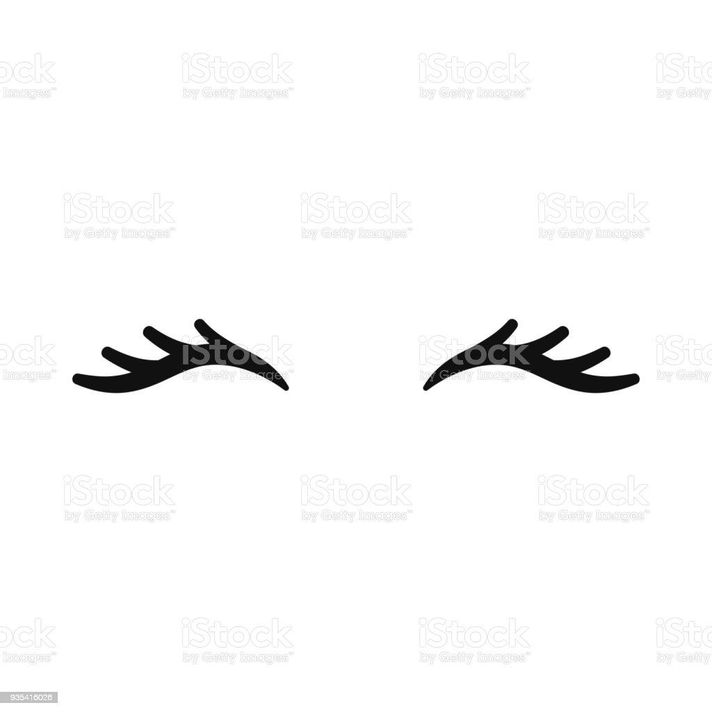 Ilustración De Pestañas De Unicornio Vector Ojos Cerrados Icono De