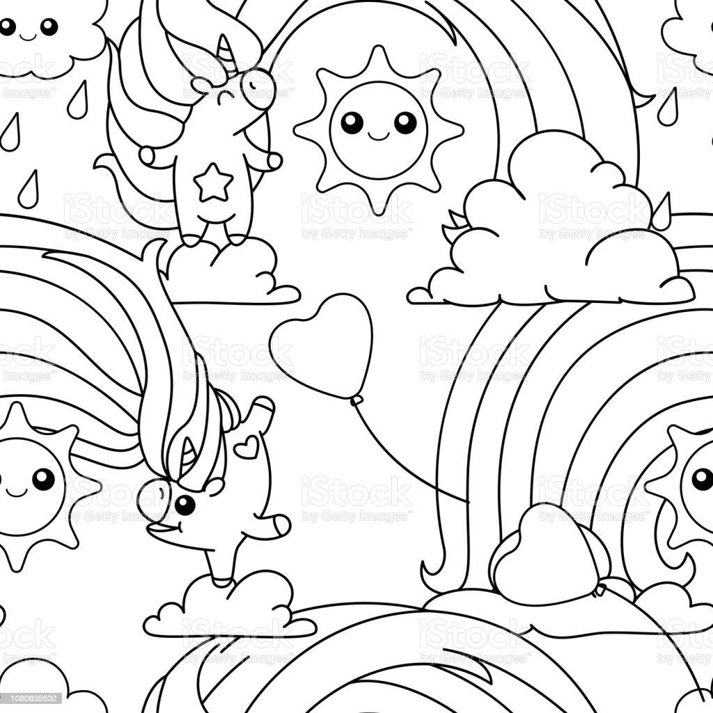 Ilustración De Página Para Colorear De Vector Unicornio Patrón Y Más