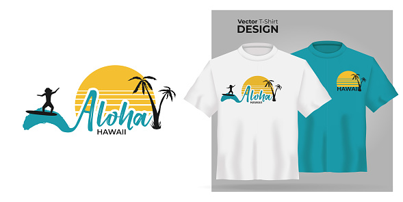 Vector Unisex t-shirt mock up set. 3d realistic shirt template Aloha Hawaii quote with surfing men on ocean blue waves and yellow sun on white background. Blue and white tee mockup hawaii design