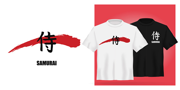 Vector Unisex t-shirt mock up set with japanese hierogliph - samurai. 3d realistic shirt template. Black and white tee mockup on red background, front view design japan martial art print.