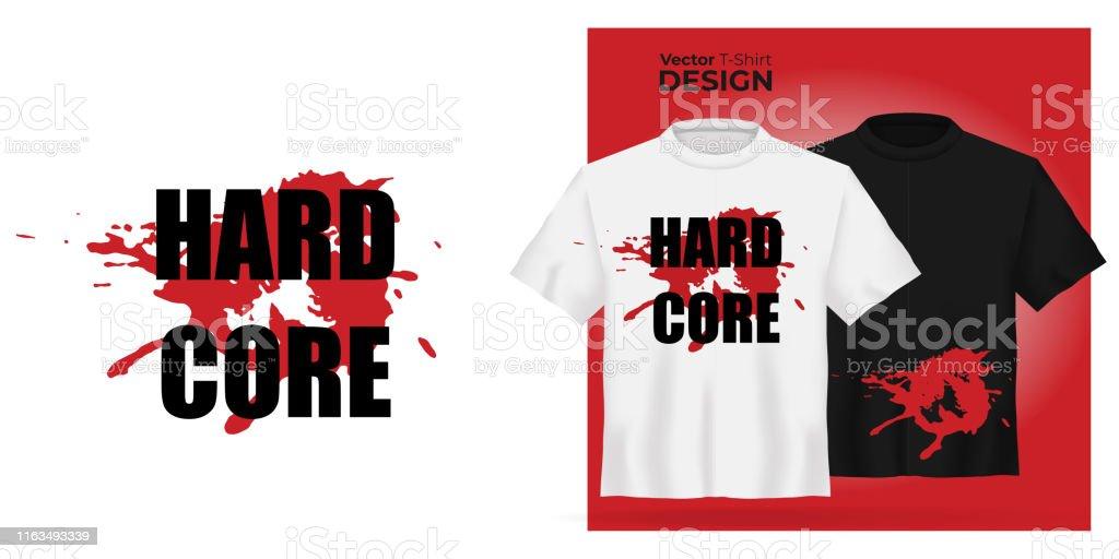 Vector Unisex Tshirt Mock Up Set With Red Blood Spot Symbol 3d