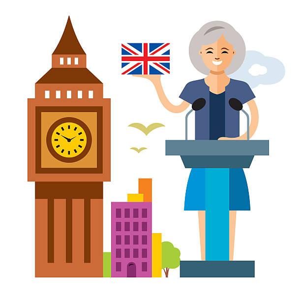 vector united kingdom policy. woman politician. flat style colorful cartoon - kanzlerin stock-grafiken, -clipart, -cartoons und -symbole