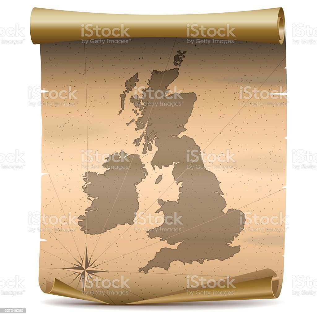 Vector United Kingdom Vintage Map vector art illustration