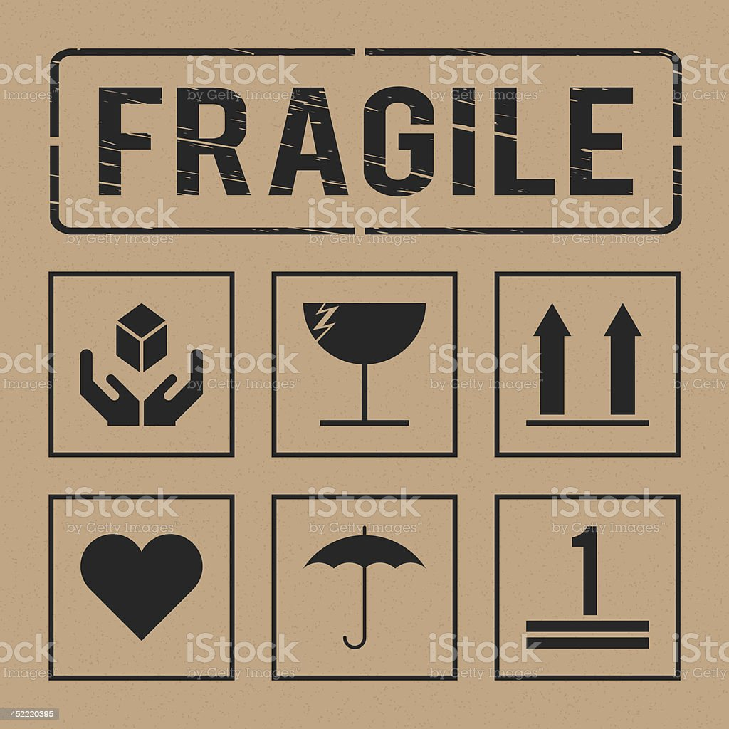 vector universal fragile signs collection vector art illustration