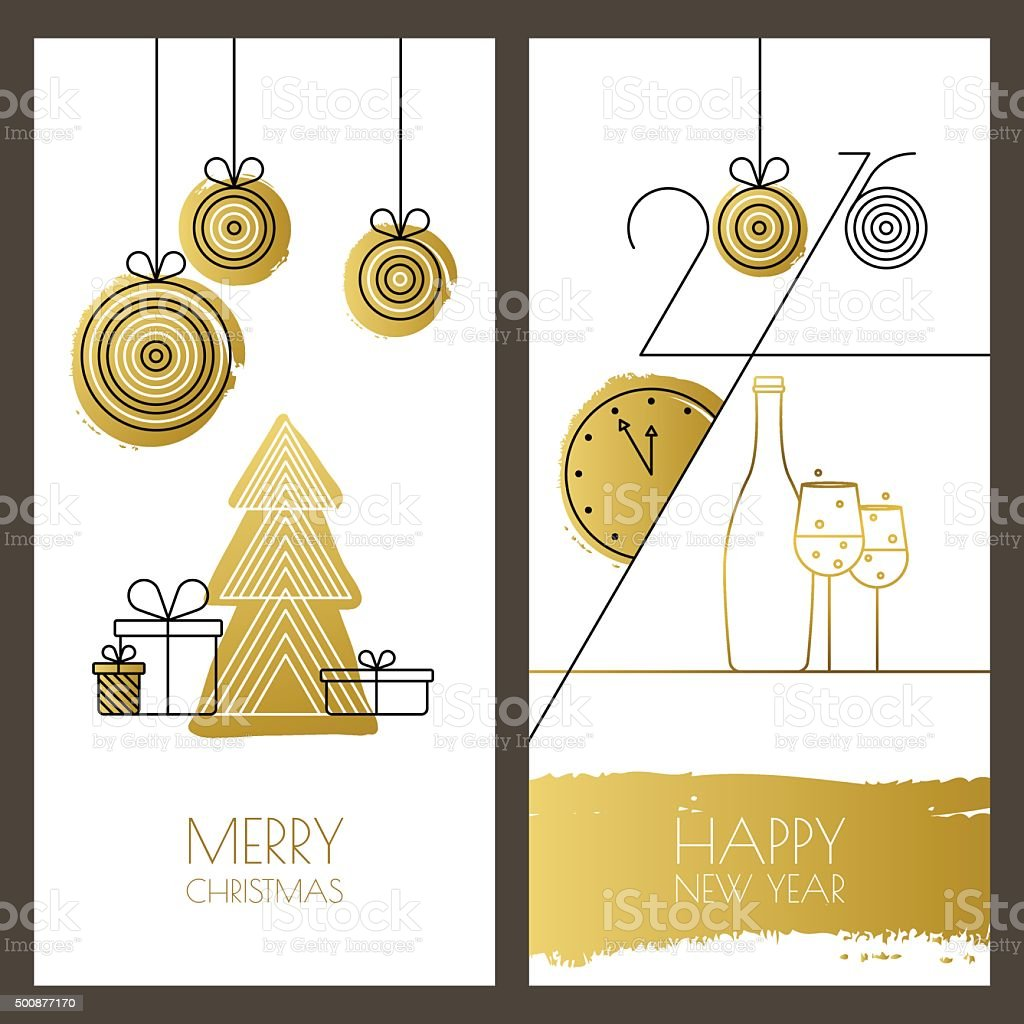 Vector Universal Hand Drawn Christmas New Year Greeting Cards Stock
