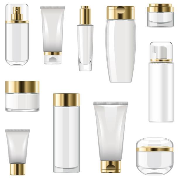Vector beschriftet Kosmetikverpackungen – Vektorgrafik