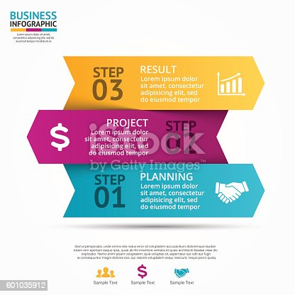 istock Vector up arrows infographic, diagram, graph, presentation, chart. Business cycle 601035912