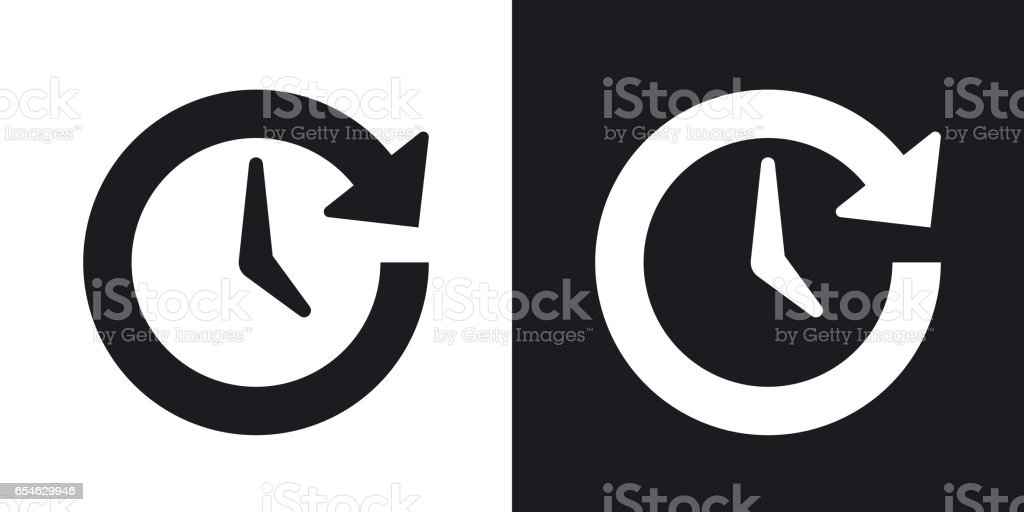 Vector update icon. Two-tone version on black and white background vector art illustration