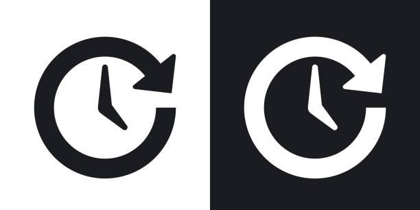 vektor-update-symbol. zweifarbige version auf schwarzen und weißen hintergrund - neugeborenes stock-grafiken, -clipart, -cartoons und -symbole