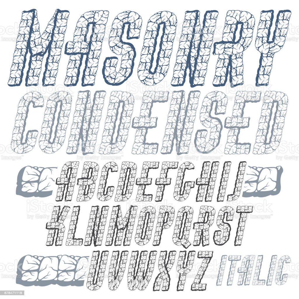 Vector Upper Case Modern Alphabet Letters Set Bold Condensed Italic Font Typescript Made