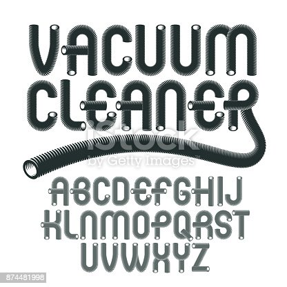 Vector upper case modern alphabet letters set. Funky rounded font, typescript for use in logo creation. Created with hosepipe style, plumbing.