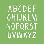Vector uppercase alphabet for bio packaging, organic production.