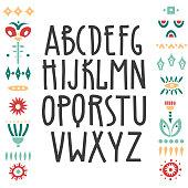 Vector uppercase alphabet, hand-drawn art nouveau font and decorative elements.