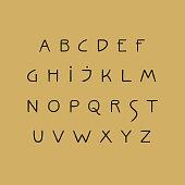 Vector uppercase handwritten alphabet in Art Nouveau style.