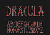 "Vector uppercase red and white font ""Dracula"" in the Art Nouveau style."