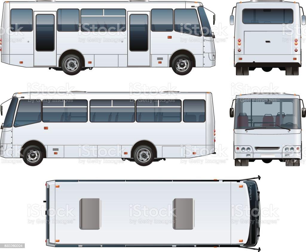 Vetor urbano de passageiros minibus mock-up - ilustração de arte em vetor