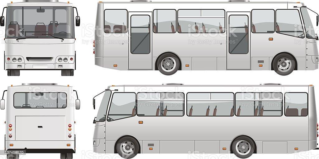 Vector urban passenger mini-bus vector art illustration