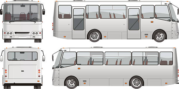 vektor urban passagier mini-bus - tour bus stock-grafiken, -clipart, -cartoons und -symbole