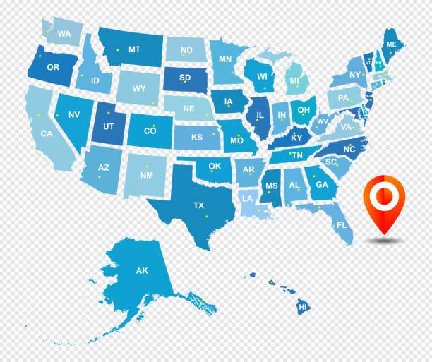 고립 된 벡터 미국 관리 지도 - 미국 stock illustrations