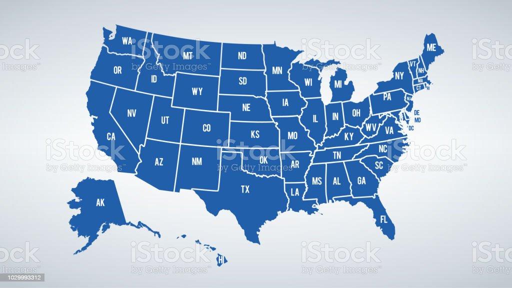 Vector USA colores mapa con fronteras de Estados y shorts nombre de cada uno de los Estados ilustración de vector usa colores mapa con fronteras de estados y shorts nombre de cada uno de los estados y más vectores libres de derechos de arizona libre de derechos