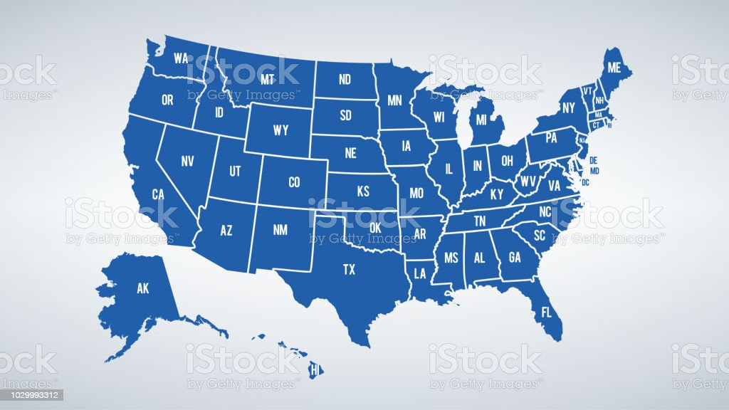 Vector USA colors map with borders of states and shorts name of each states
