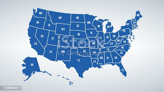 Vector USA colors map with borders of states and shorts name of each states.