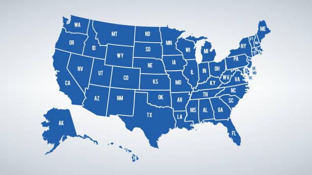 벡터 미국과 국가의 국경 지도 색상 반바지 각 국가의 이름 - 미국 stock illustrations