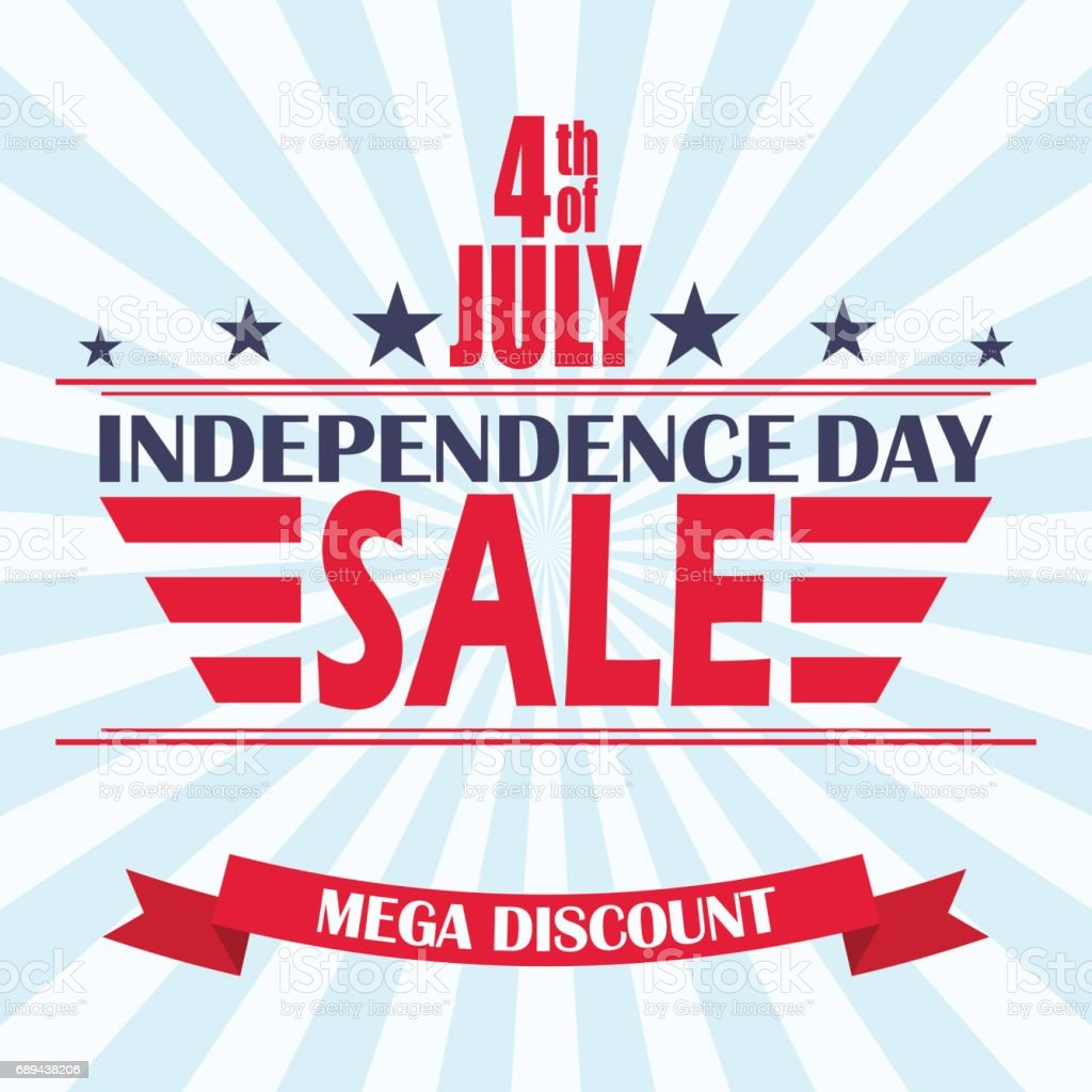 Vector USA Independence Day sale background. Design template for 4th of July sale. vector art illustration