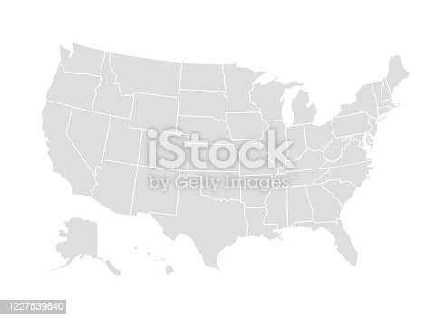 Vector usa map america icon. United state america country world map illustration.