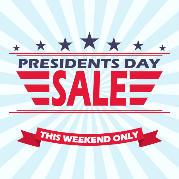 vector usa presidents day sale background with stars, stripes and ribbon. - presidents day stock illustrations, clip art, cartoons, & icons