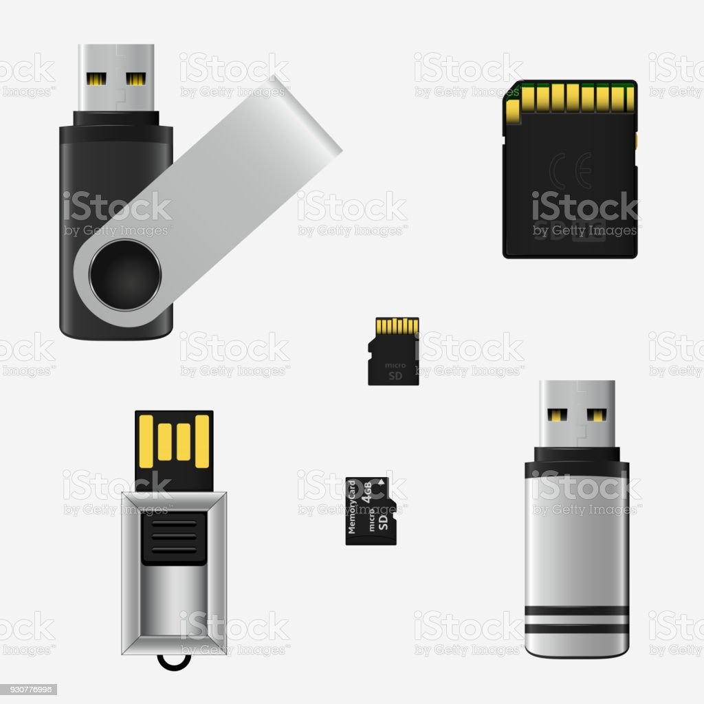 Vector Usb Flash Drives And Memory Cards Stock Vector Art & More ...