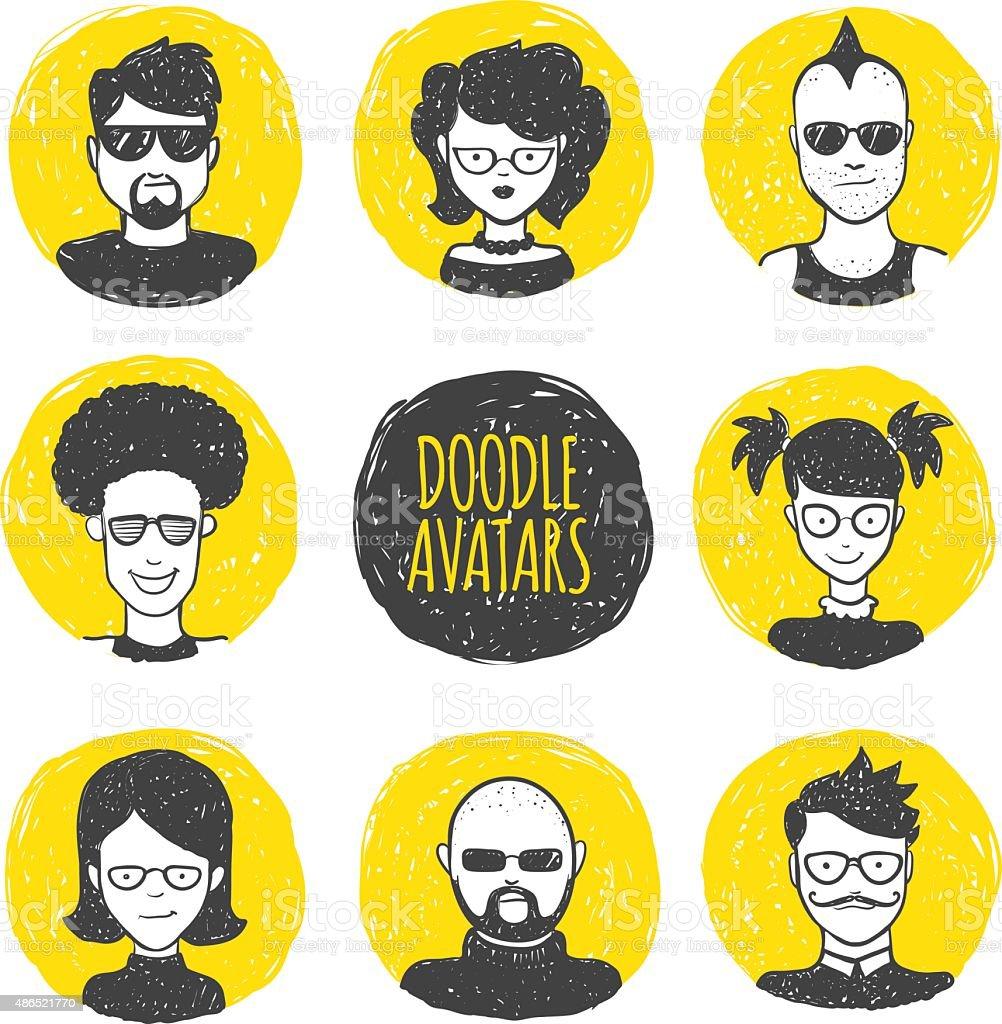 Vector user avatars in trendy hand drawn doodle style. Eight vector art illustration
