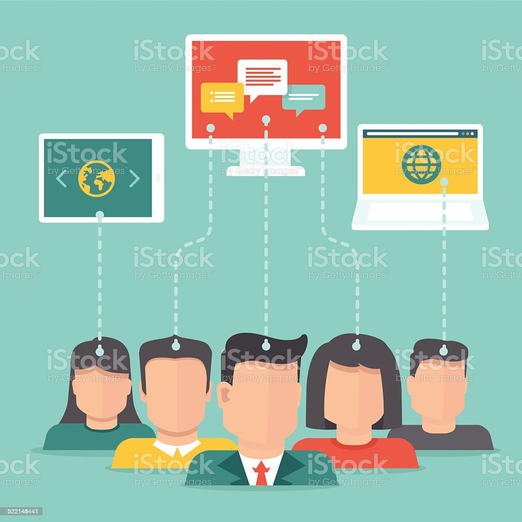Vector user generated content concept in flat style vector art illustration