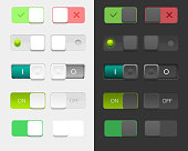 Vector user interface on off switches designs