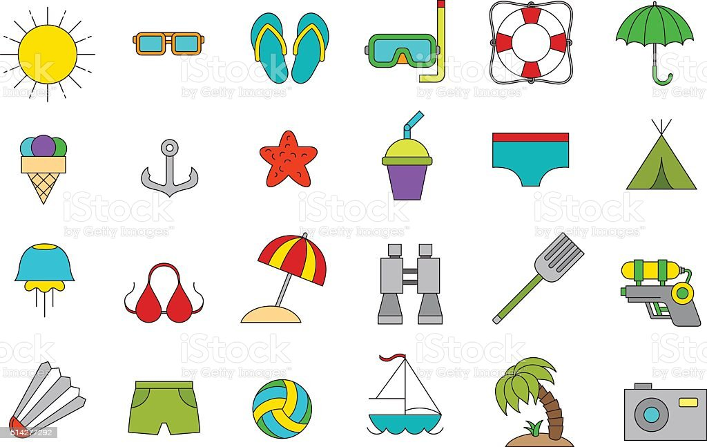 Vector vacation icons set vector art illustration