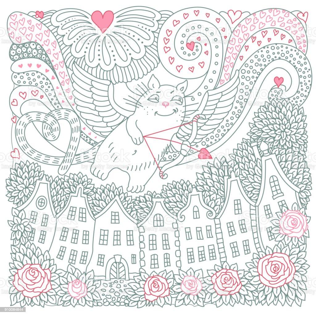 Vektör Sevgililer Günü Kartı Uçan Cupid Kedi Kalpler Gül çiçek Evi