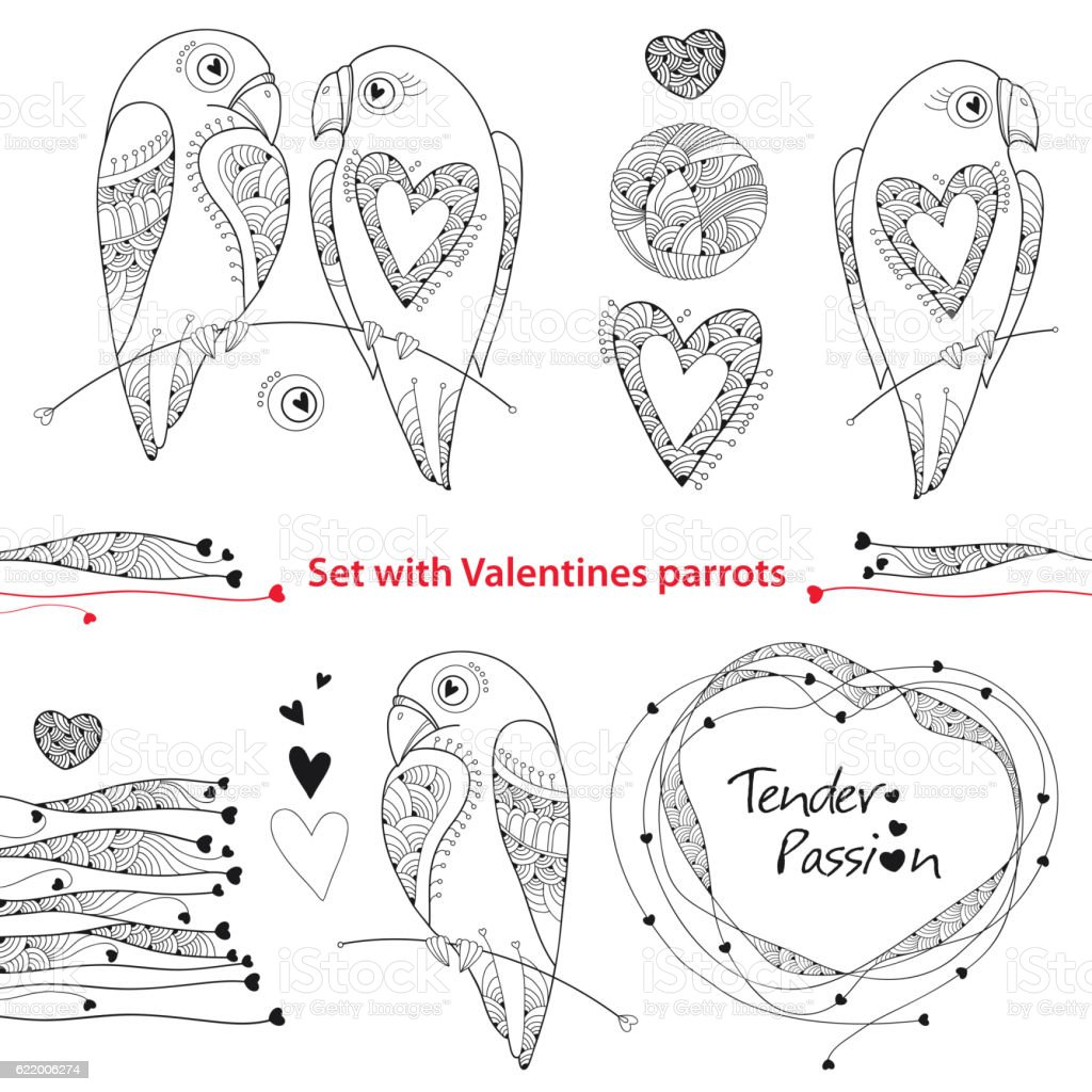 Vector Valentine day set with parrots in contour style. vector art illustration