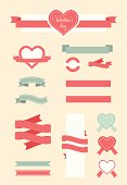 Set of Valentine vector elements, vintage banner, ribbon, labels, frames, badge, stickers. Vector Valantine's day element.Vintage ornaments and decorative element