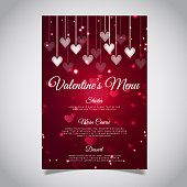 Vector Valentine Menu with Lighting Effect