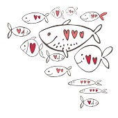 Vector Valentine's day background. Loving fish with hearts.