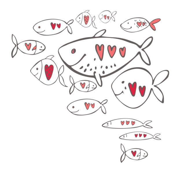 bildbanksillustrationer, clip art samt tecknat material och ikoner med vektor alla hjärtans dag bakgrund. kärleksfull fisk med hjärtan. - koncept och teman