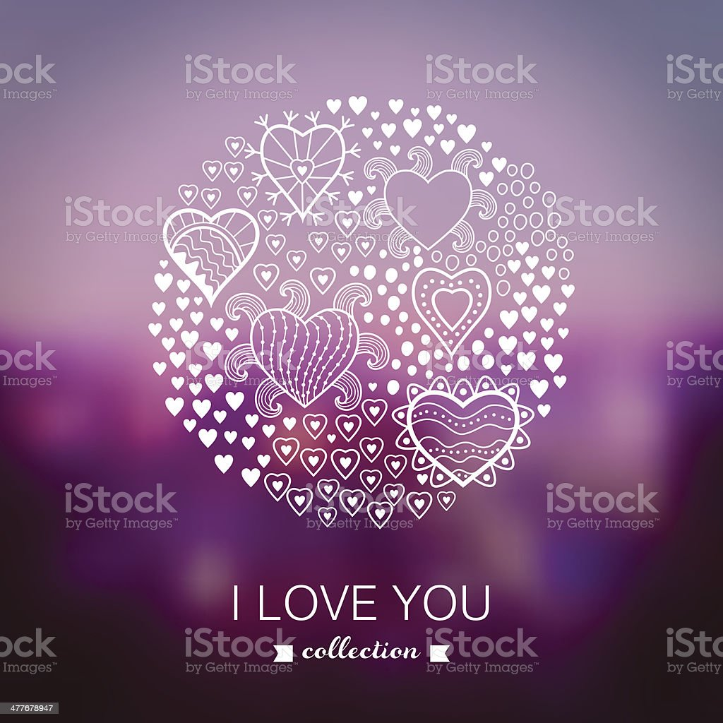 Vector Valentine's Day background, round, circle made of hearts. royalty-free stock vector art