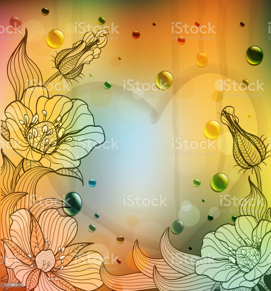vector Valentine's Day background with flowers and heart royalty-free stock vector art