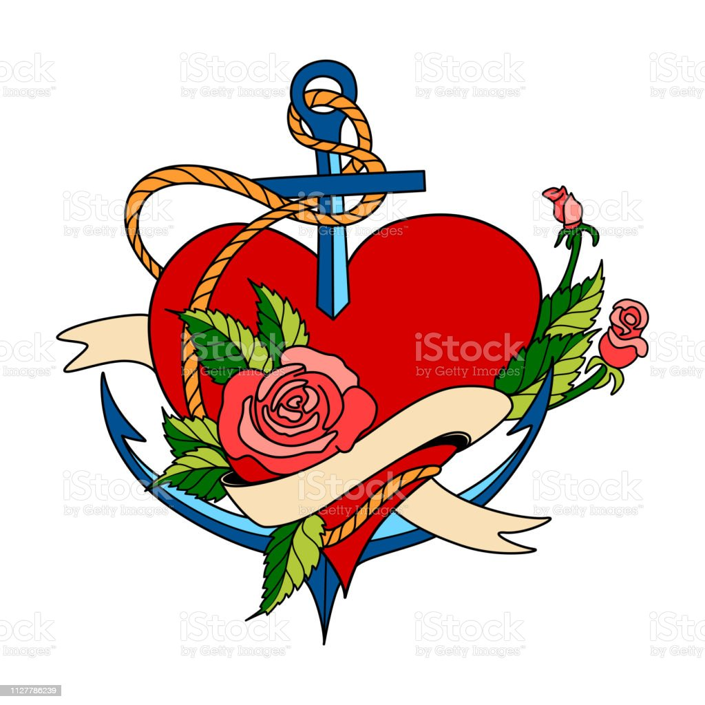 Vector Valentines Day greeting card with anchor amd heart, made in classic old school tattoo style.