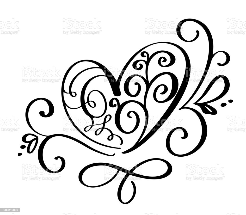 Vector Valentines Day Of Flourish Calligraphy Vintage Hearts Hand
