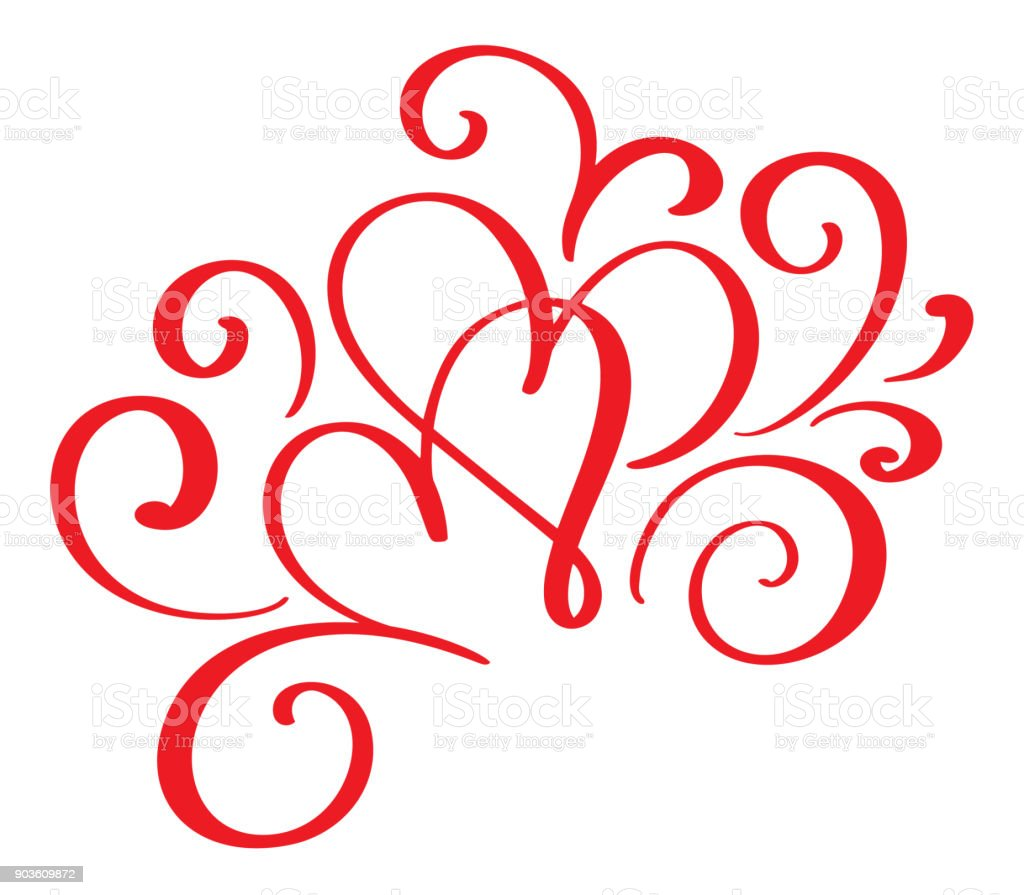 Vector Valentines Day Of Flourish Calligraphy Vintage Red Hearts ...
