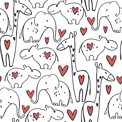 Vector Valentine's day pattern with animals and hearts.