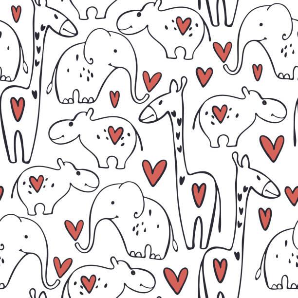 ilustraciones, imágenes clip art, dibujos animados e iconos de stock de patrón de día de san valentín vectorial con animales y corazones. - conceptos y temas